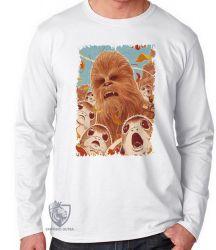 Camiseta Manga Longa Chewbacca Porgs