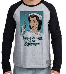Camiseta Manga Longa Enfermagem injeção de amor