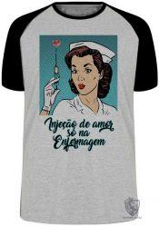 Camiseta Raglan Enfermagem injeção de amor