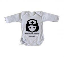 Roupa Bebê manga longa Enfermagem nossa vida