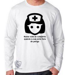 Camiseta Manga Longa Enfermagem nossa vida