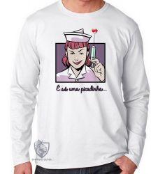 Camiseta Manga Longa Enfermagem picadinha