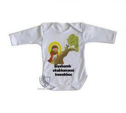Roupa Bebê manga longa Jesus Siyahamba