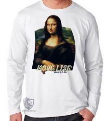 Camiseta Manga Longa Mona Lisa Da Vinci