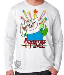 Camiseta Manga Longa Finn Hora da Aventura estrelas