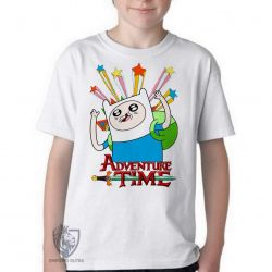 Camiseta Infantil Finn Hora da Aventura estrelas