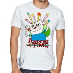 Camiseta Finn Hora da Aventura estrelas