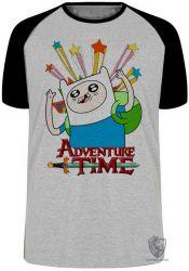 Camiseta Raglan Finn Hora da Aventura estrelas