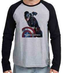 Camiseta Manga Longa Steve Rogers Cap
