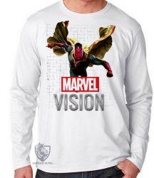 Camiseta Manga Longa Visão Vingadores voando