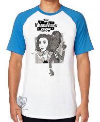 Camiseta Raglan WandaVision desenho antigo