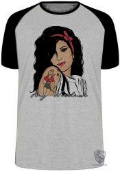 Camiseta Raglan Amy Winehouse retrô