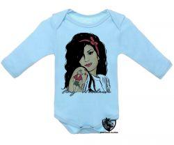 Roupa Bebê manga longa Amy Winehouse retrô