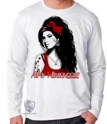 Camiseta Manga Longa Amy Winehouse vermelho