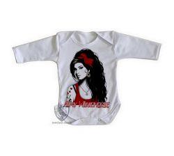 Roupa Bebê manga longa Amy Winehouse vermelho
