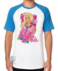 Camiseta Raglan Barbie coração