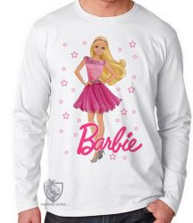 Camiseta Manga Longa Barbie rosa