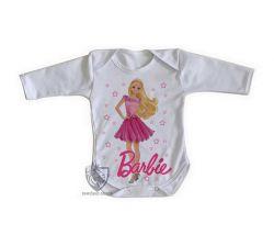 Roupa Bebê manga longa Barbie rosa