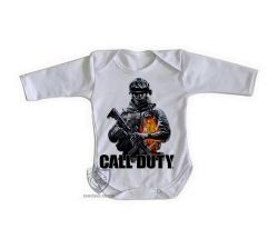 Roupa Bebê manga longa Call of Duty  soldado