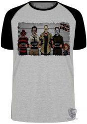 Camiseta Raglan  Jason Chucky Freddy Krueger